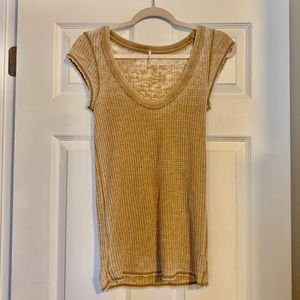 Free People Tops - 4/$25 Free People gold waffle knit burnout T-shirt